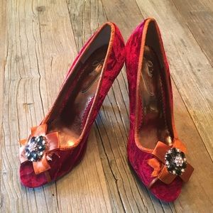 Poetic Licence Red Velvet Rhinestone Jeweled Heels